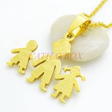 Gold Tone Stainless Steel Little Three Kids Children Two Boy & Girl Hand In Hand Figure Pendant Necklace W/ Chain(China (Mainland))