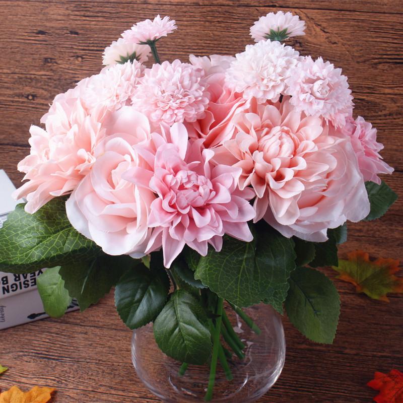online kaufen gro handel silk blumen bouquet aus china silk blumen bouquet gro h ndler. Black Bedroom Furniture Sets. Home Design Ideas