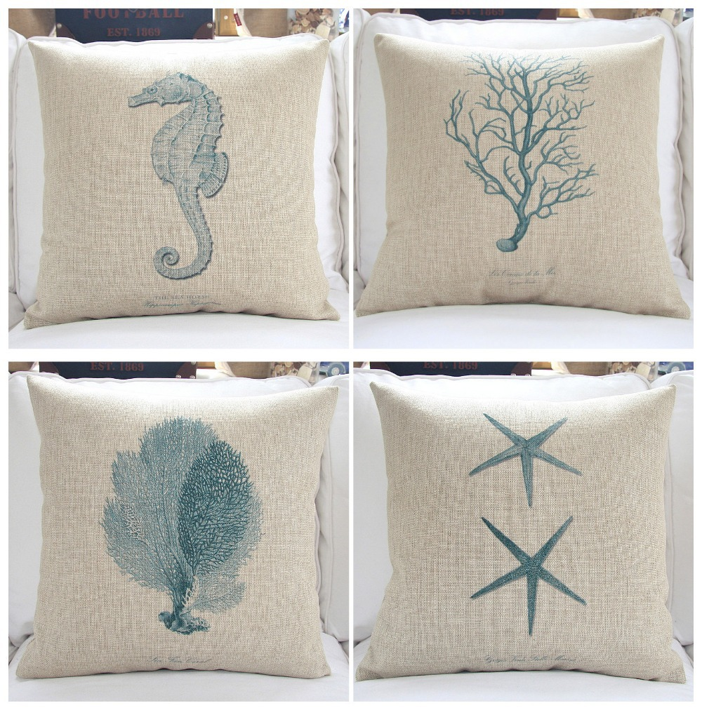 Throw Pillows With Covers : Thick Cotton Linen Sofa Pillows 18 Sea Cushion Covers Decorative Throw Pillow cover-inCushion ...