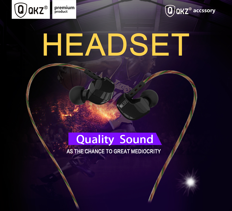 QKZ DM200 In-Ear Earphone Copper Driver Ear Hook HiFi In Ear Earphone Sport  Headset For Running fone de ouvido