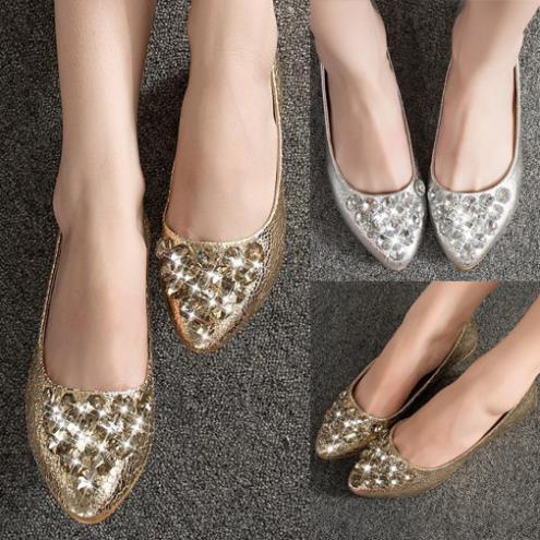 Womens Casual Rhinestone Pointy Toe Flats Slip On Loafers Ballerina Ballet Shoes(China (Mainland))