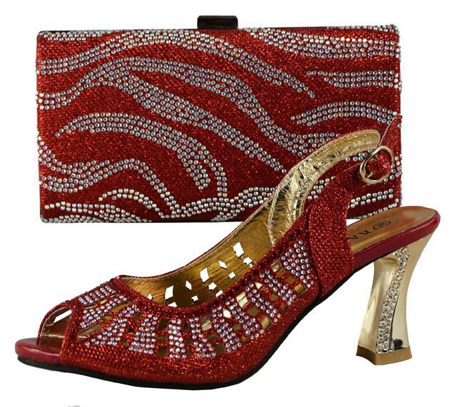 African Matching Shoes And Bag Set Free Shipping Italian Matching Shoe And Bag,708-4 red shoes for African wedding.(China (Mainland))