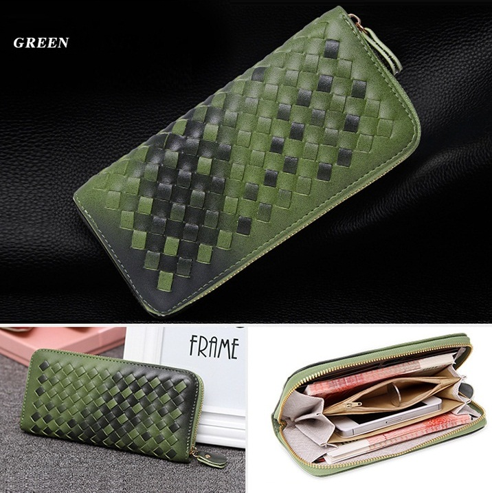 New Long Style Gradient Weave Leather Stitching Women Brand Purse Clutch Casual Wallet Retro Handbag 14 Colors(China (Mainland))