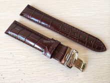 20mm (Buckle18mm) T019430 High Quality Silver Butterfly Buckle + Brown Genuine Leather Watch Bands Strap