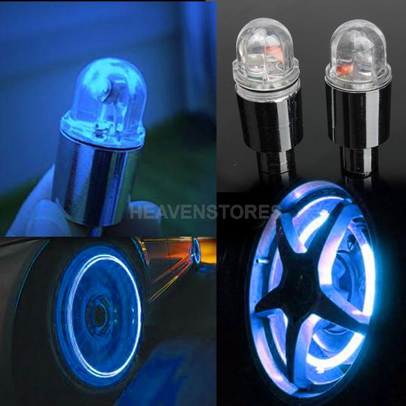 1 Pair Cycling Bike Bicycle Neon LED Wheel Spoke Valve Cap Alarm Wheel Lights hv(China (Mainland))