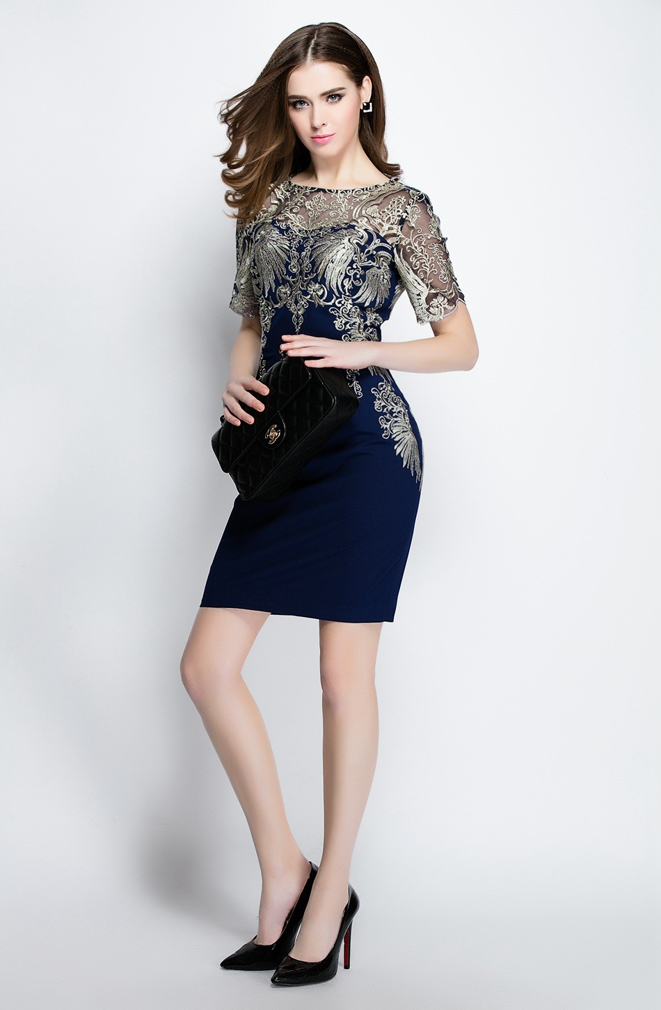 high quality 2016 new arrivals Fashion women's woman ladies elegant womens embroidery mini blue brand party runway dress dresses
