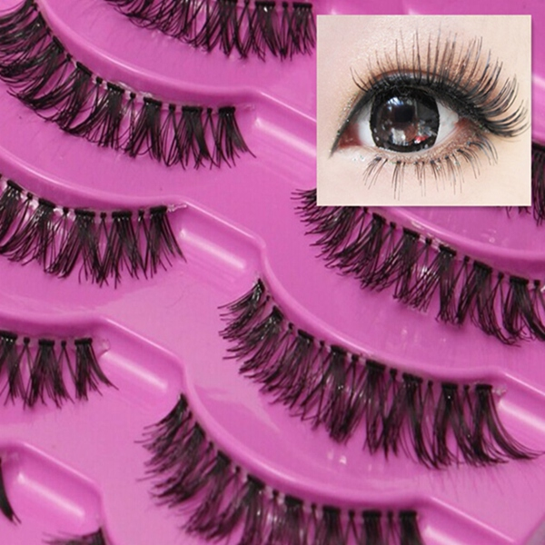 Natural 5 Pair Thick Long Crisscross False Eyelashes Fake Eye Lashes Beauty Makeup Free Shipping(China (Mainland))