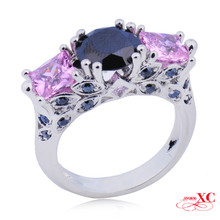 Hot Sale Lady's Fashion Fine Jewelry Wedding Finger Rings Pink Black Sapphire AAA Zircon 18KT White Gold Filled Ring R6F03276