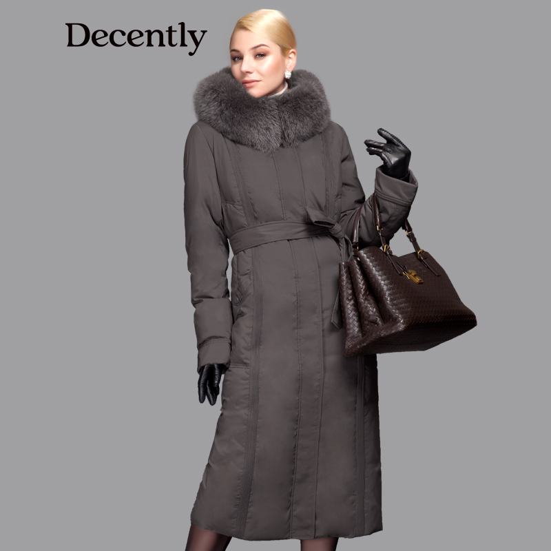 DECENTLY 2015 winter Long New Down Women Jacket Longthen Slim Belt Coat Real Fox Collar Thick Big size Free shipping 1A7155-1(China (Mainland))