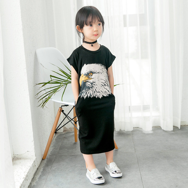 New fashion girls balck font b dress b font for children summer clothes eagle printed casual