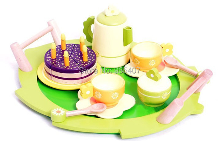 New Wooden Toy Export  French wooden afternoon tea set Baby toy Free shipping<br><br>Aliexpress