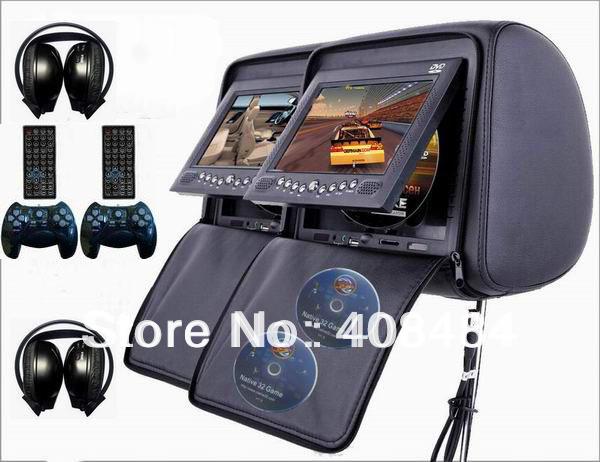 Dual 7 Inch Headrest Monitor Car DVD Player Zipper IR 32Bit Game USB SD FM 2PCS IR Headphones Free Shipping Retail/Pair(China (Mainland))