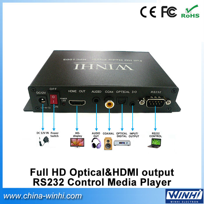 Optical HDMI RS232 12v audio video advertising car smart box tv remote display streaming media player devices(China (Mainland))
