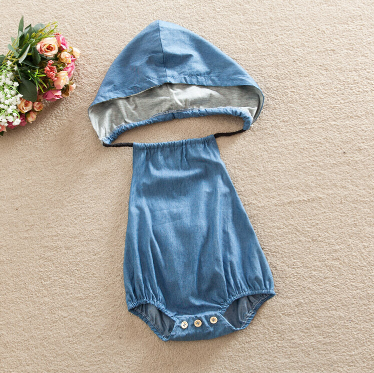 Baby Girls Infant Clothes Set Denim Jumpsuit Summer Clothing Sets Newborn Kids Hooded Cute Cotton Backless Rompers Summer