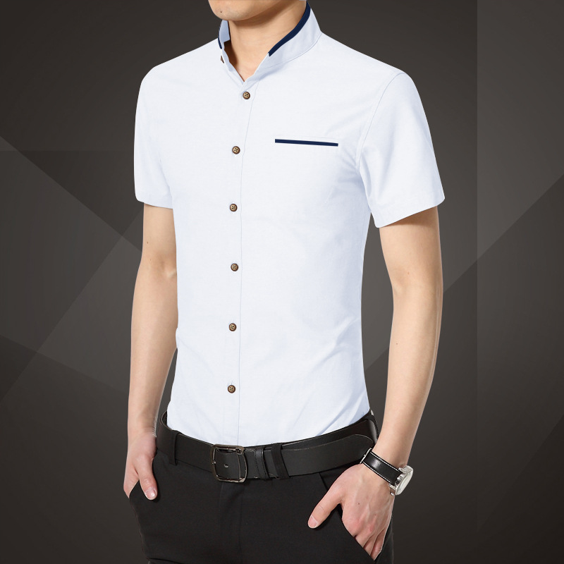 2016 Men Shirt Vintage Stand Collar Breathable Casual Shirts High Quality Solid Color Dress Shirt Short-sleeve Shirts Men M580(China (Mainland))