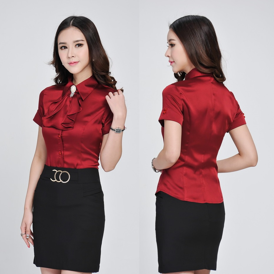 Innovative Green Shirts Women Blouses Short Sleeve Ladies Office Uniform Shirts