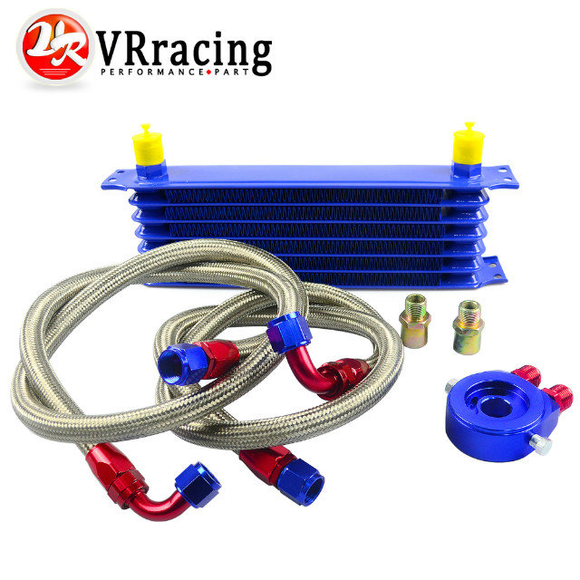 VR RACING STORE- UNIVERSAL 7ROWS OIL COOLER KIT + OIL FILTER SANDWICH ADAPTER+ STAINLESS STEEL BRAIDED OIL HOSE BLUE(China (Mainland))