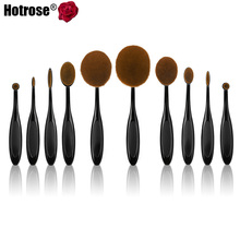 10pcs Toothbrush Makeup Brushes Professional Oval Make up Brush Set Beautiful Foundation Power Blush Blend Cosmetic Tool(China (Mainland))