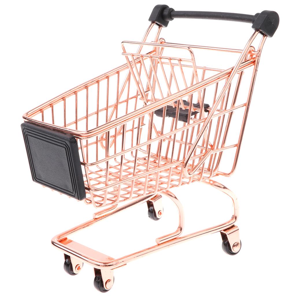 Mini Metal MIniature Shopping Cart Salesman Sample Kids Children Pretend Play Toy Room Cute Decoration - Rose Gold