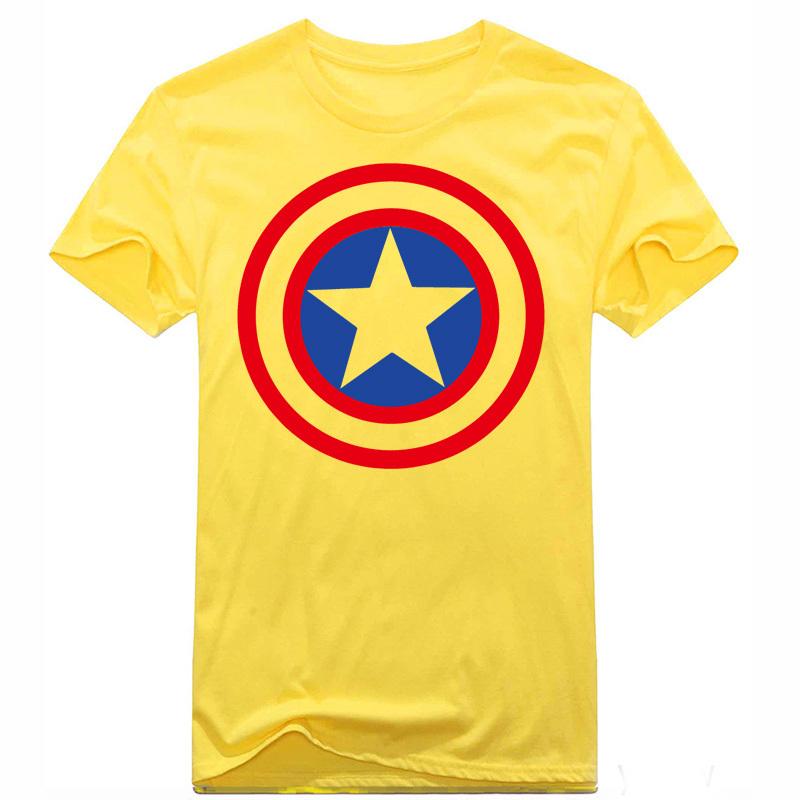 New Hot Avengers Mens Shield T Shirt Captain America T Shirts Men Cotton Top Tees Sport