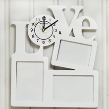 New Arrival White LOVE Creative Wall Clock With 3 Frames Wooden Clock Fashion Hanging Wall Clock(China (Mainland))