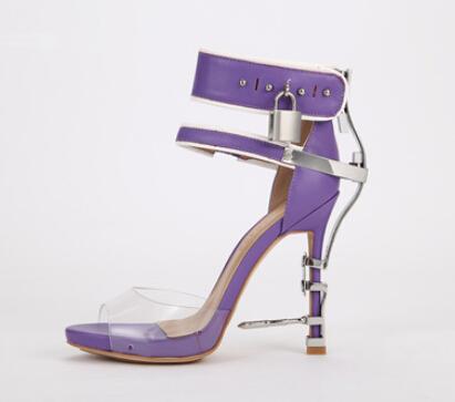 Stylish Women High Heel Sandal Good Quaity Diamond Heel Ankle Strap Lock Shoes Summer 2015 Newest Style Sandal Shoes <br>
