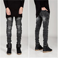 Fashion White Black Ripped Denim Pant Knee Hole Zipper Biker Jeans Men Slim Skinny Destroyed Torn Jean Pants fear of god jeans