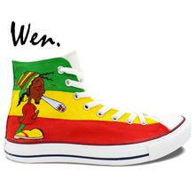 Canvas Shoes Reggae Man Woman Custom Sneakers Boys Girls Birthday Gifts Hand Painted Art Wen