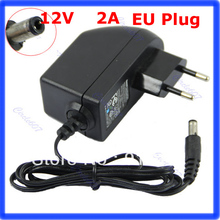 Free shipping AC 100-240V to DC 12V 2A EU Plug AC/DC Power adapter charger Power Supply Adapter for Led Strips Lights