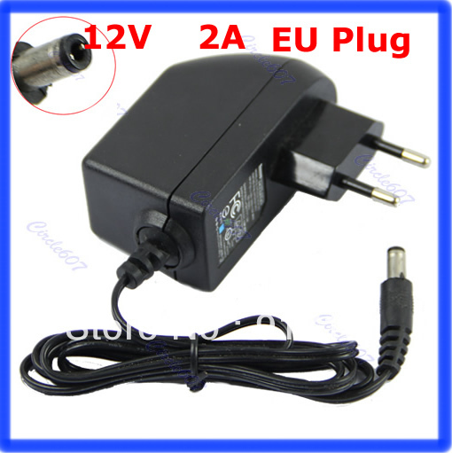 N94 Free shipping AC 100-240V to DC 12V 2A EU Plug AC/DC Power adapter charger Power Supply Adapter for Led Strips Lights(China (Mainland))