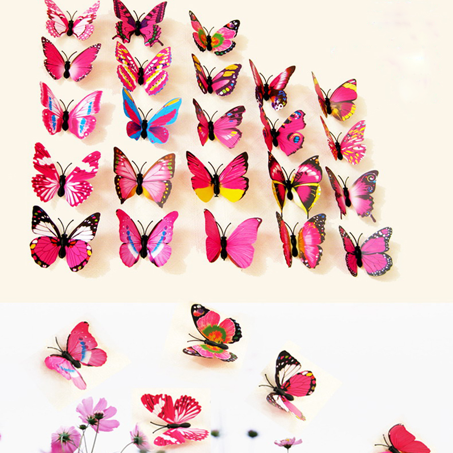 12pcs PVC 3D Butterfly wall sticker Butterflies Art Decal stickers DIY Decorations Paper on the home wall decor(China (Mainland))