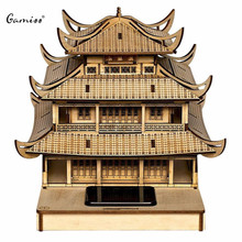 High Quality Colored Drawing DIY Veneer Yueyang Tower with Automatic Solar LED Light Sensation Romantic Gift for Valentine's Day(China (Mainland))