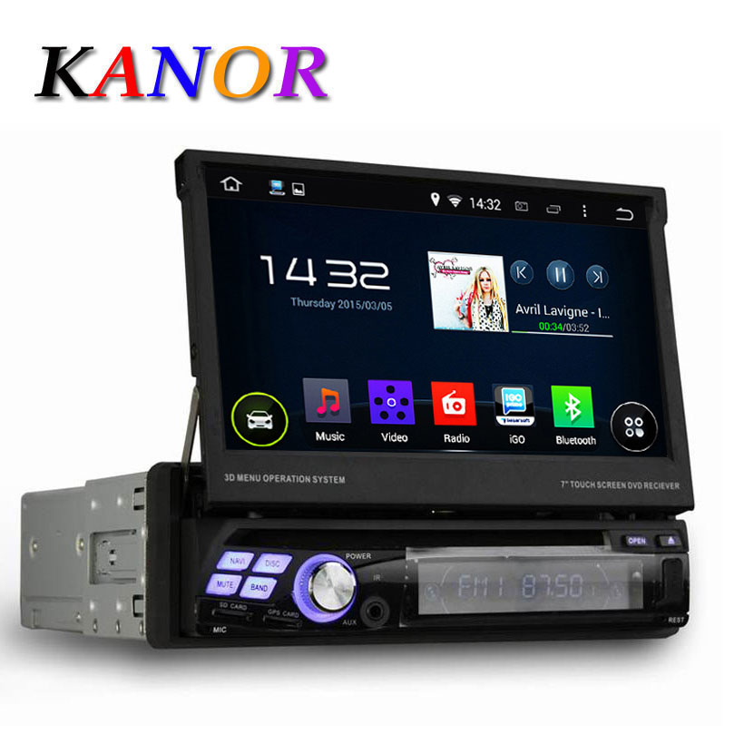 Quad Core Android 4 44 Single 1 Din 7 Universal Car DVD Player With GPS Navigation