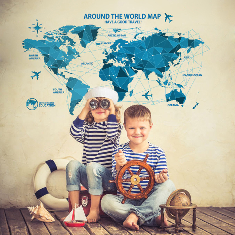 1pcs world map wall sticker home decoration Decals Wallpaper Window Bedroom Baby Children Kid House Ornament/ coffee shop(China (Mainland))