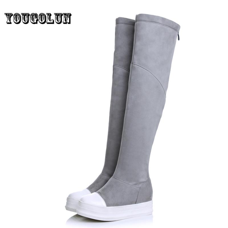 2016 ladies nubuck flock winter shoe woman over the knee boot women black gray platform shoes thigh high snow boots flat flats(China (Mainland))