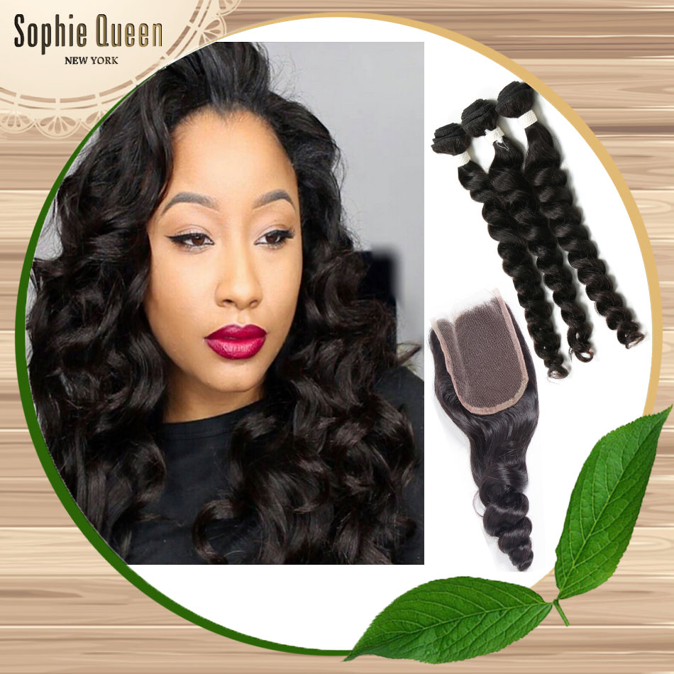 Cheapest Brazilian Loose Wave With Closure Rosa Hair Grade 7a Unprocessed Virgin Hair With Closure 3 Part Closure With Bundles