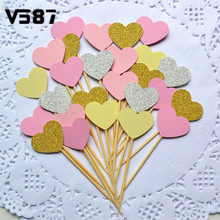 10Pcs Wedding Cake Cupcake Toppers Colorful Sprink Heart Shape Birthday Party Pastry Decoration Fruit Topper Picks(China (Mainland))