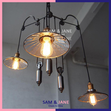 New Adjustable Chandelier Black Iron LED Home Lighting Vintage Rustic Country Kitchen Dining Room Mirror E27 110V 220V CH-P12(China (Mainland))