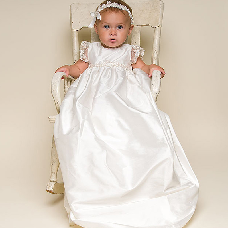 Фотография Ruffled Christening Dresses Floor Length Short Sleeves Lovely Babies First Communion Dresses Infant Couture Clothing for Babies