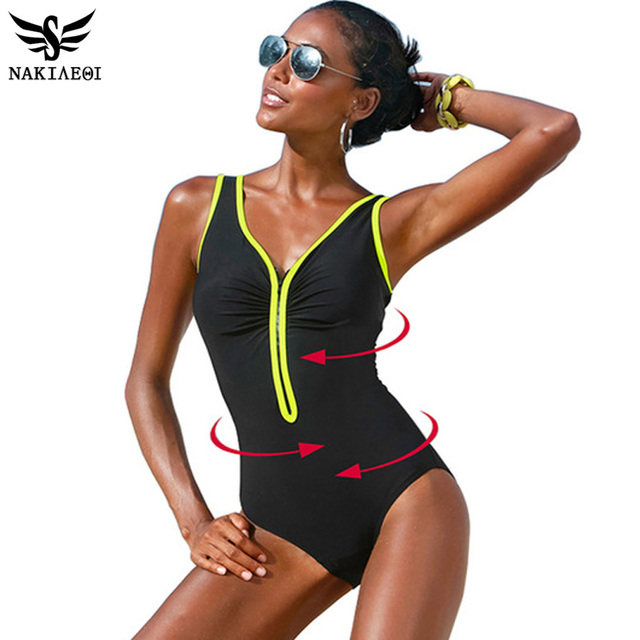 Цельный купальник 2016 Большой размер женщин старинные костюмы летний пляж одежды молния хлопок-проложенный сращивания плавание 4XL