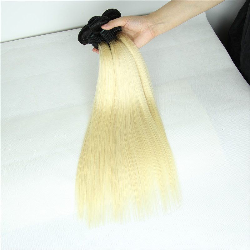 Two Tone Ombre 613 Blonde Virgin Hair Silky Straight Dark Roots Ombre Blonde Brazilian Human Hair Weave 1B 613 3 Bundles<br><br>Aliexpress