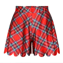 Fashion Women High Waist Short Skirts Summer Shorts Skirts Casual 3D Print Red font b Tartan