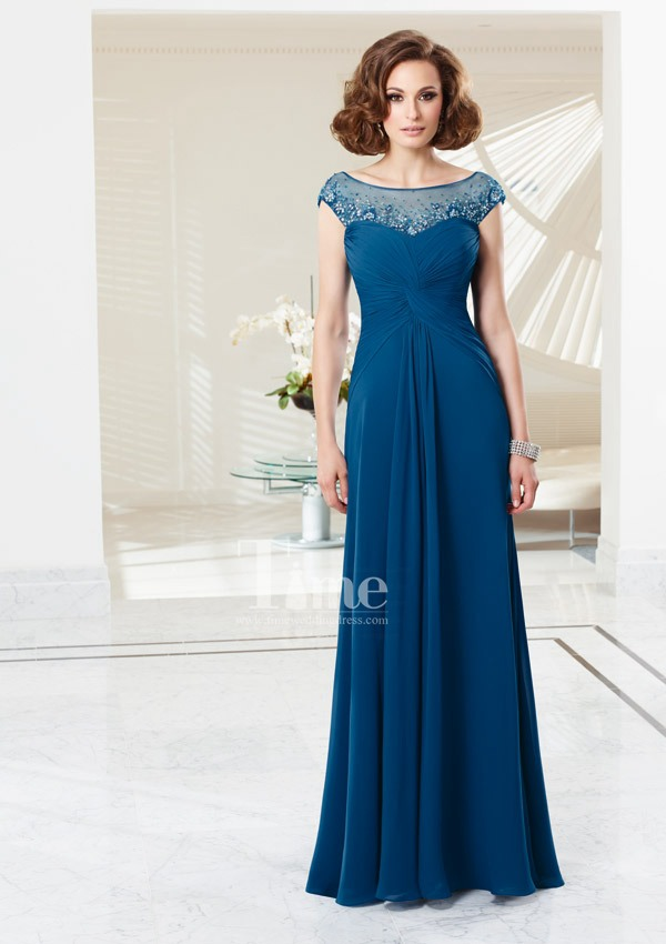 Blue/all color scoop cap sleeve Casual Mother Of the Bride dresses With 3/4 Sleeve Jacket 2014 free shipping MB0709138(China (Mainland))