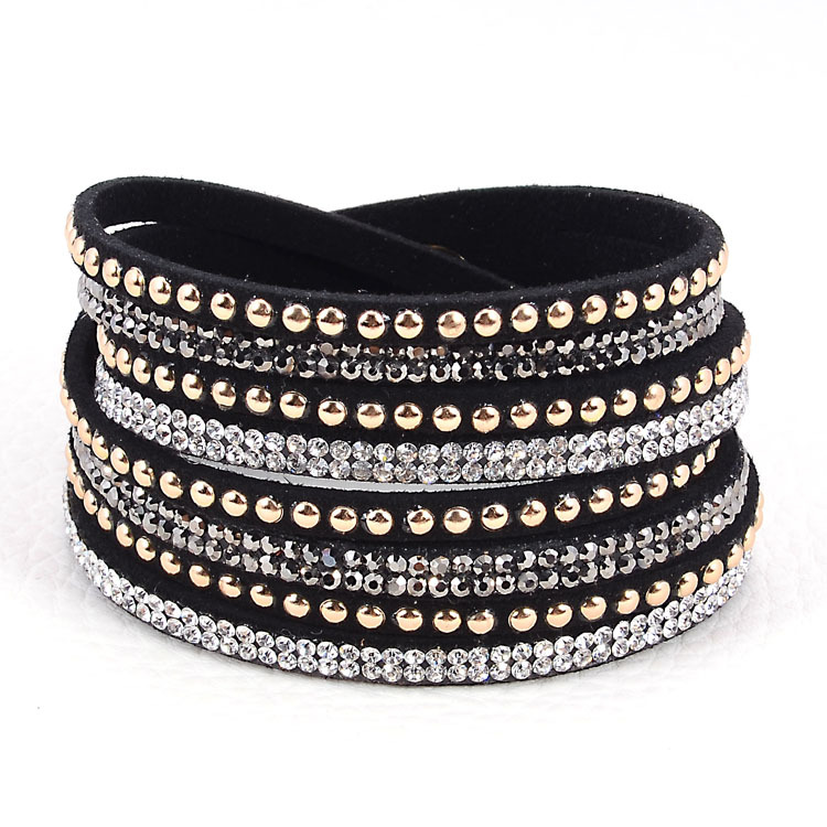 wholesale double wrap leather bracelet crystal bling bracelets double wrapped bracelets bling full crystal and punk