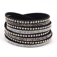 Double wrap leather bracelet crystal bling bracelets,double wrapped bracelets bling full crystal and punk style