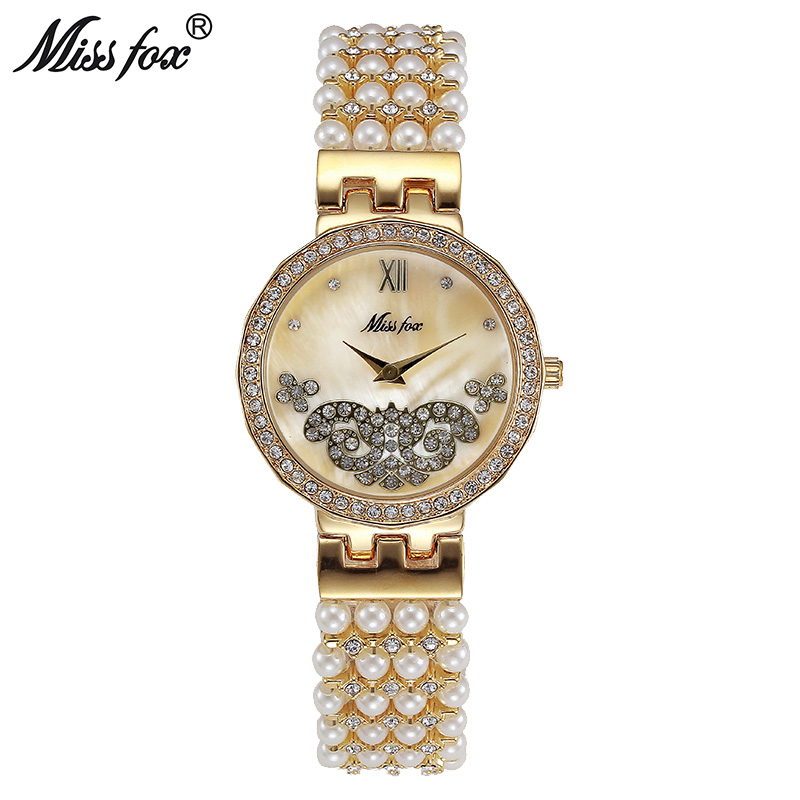Miss Fox Butterfly Pearl Watch Fashion Brand Nature Pearl Small Cheap Womens Watches Gift For Girl Uhr Relogio Feminino Dourado(China (Mainland))