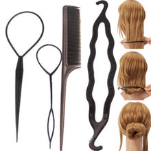 1 Set/4Pc Fashion Women Lady Hair Twist Styling Clip Stick Bun Maker Braid Tool Accessories(China (Mainland))