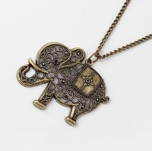 Europe & America Trendy Antique Hollow Out Elephant Pendant Chain Necklace(Bronze) Vintage Style Clothing Chain Accessories LS53(China (Mainland))