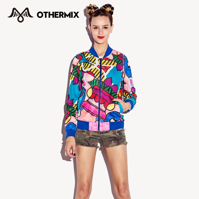 Othermix baseball uniform multicolour print pattern baseball shirt long-sleeve spring outerwear female 5MJ1006JОдежда и ак�е��уары<br><br><br>Aliexpress