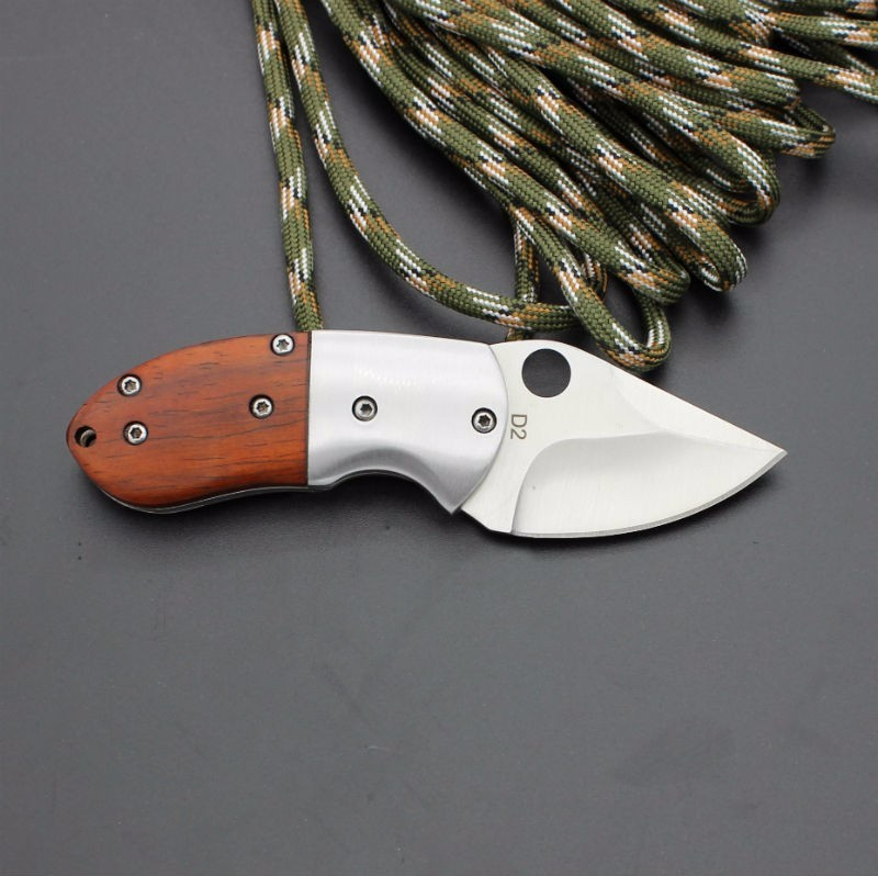 Buy 59-60HRC D2 Blade BROWNING Survival Knife Folding Knife Wood Handle Pocket Hunting Tactical Knives Camping Outdoor EDC Tools cheap